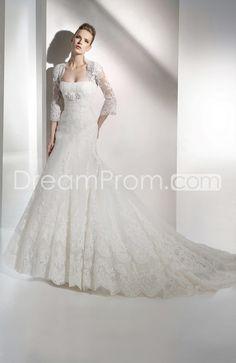Perfect Trumpet/Mermaid Strapless Sleeveless Floor-length Chapel Embroidery Wedding Dresses