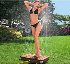Amazon.com : Adir Italian Designed Teak Wood Outdoor Portable Shower - Great for Gardens Pools and Beaches - No Assembly required : Patio, Lawn & Garden