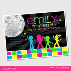 Kids Dance Party Birthday Invitation or Thank by PinkPickleParties, $10.00