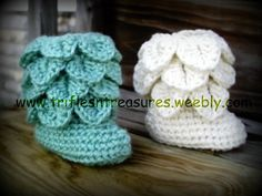 Crocodile Stitch BootiesCrochet Pattern by triflesntreasures, $4.00