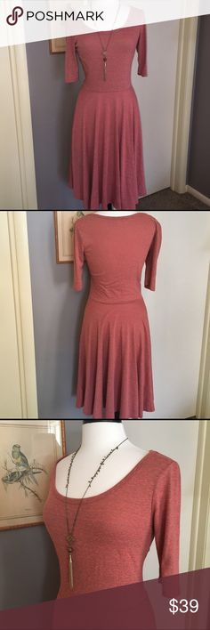 LuLaRoe Nicole Dress. In excellent condition!  Wear this all year long ladies!  Great with sandals or flip flop in spring/summer and great with boots with tights in fall/winter. Dress up or down!  Looks great with a jean jacket or with a blazer. Belts look great with this dress too!  Has some stretch to it. Very flattering on and beautiful color! LuLaRoe Dresses Midi