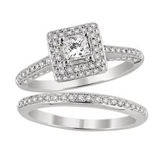 14K White Gold Vintage Princess Wedding Set.    http://www.thediamondstore.com/products/engagement-rings/14k-white-gold-vintage-wedding-set-%7C-ash23812/6-697