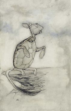 Arthur Rackham (British, 1867-1939), The Mock Turtle. Pen and black ink and blue and grey wash, 21 x 13.5 cm.
