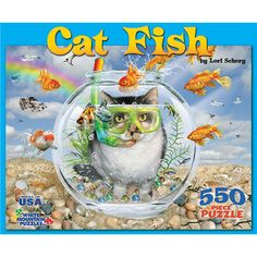 """Cat Fish 550 Piece Puzzle: In this whimsical cat puzzle the tables are turned! Artwork by Lori Schory. This 550-piece jigsaw puzzle measures 18"""" x 24"""" when complete.  $14.99  http://calendars.com/Funny-Cats/Cat-Fish-550-Piece-Puzzle/prod201200009253/?categoryId=cat00185=cat00185#"""