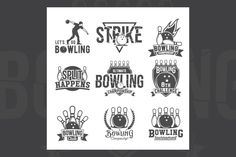 Set of bowling emblems and labels by Alexey_Ivanov on @creativemarket