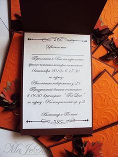 """Купить Свадебные приглашения """"Осень"""" - рыжий, осень, коричневый, свадебные приглашения, тематическая свадьба"""