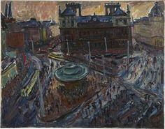Hans Körnig. Postplatz. Öl auf Leinwand, 1937. Blick Richtung Süden auf Fernsprechamt zwischen Wallstraße und Marienstraße. © Repro: Museum Körnigreich