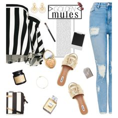 Golden mules. by iamthelizardqueen on Polyvore featuring moda, Milly, Kenneth Jay Lane, Too Faced Cosmetics, Oris, Polaroid and Murphy