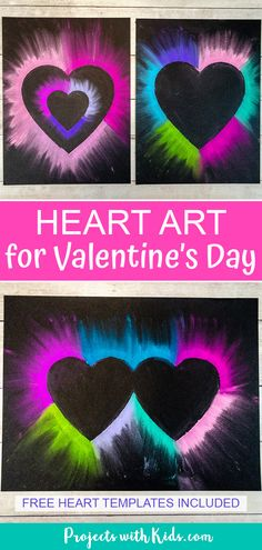 Colorful chalk pastel heart art for kids to make. Heart templates included making this Valentine's Day art project easy for kids of all ages! #projectswithkids #valentinesdayart #kidsart