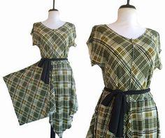 Asymmetric Plaid Dress Handmade Womens by RebeccasArtCloset, $72.00