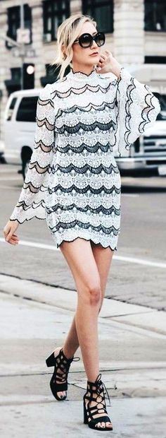 #feminine #style #summer #outfitideas   Bell Sleeve Black and White Lace Dress