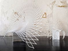 Peacock Chair made of a single sheet of acrylic composite by UUfie