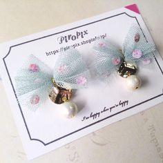 ハンドメイドマーケット minne(ミンネ)| Mint Green Lace & Pearl イヤリング&ピアス