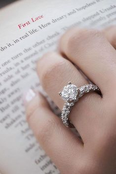 18 White Gold Engagement Rings To Conquer Your Love ❤️ white gold engagement rings round cut simple classic pave band ❤️ More on the blog: https://ohsoperfectproposal.com/white-gold-engagement-rings/
