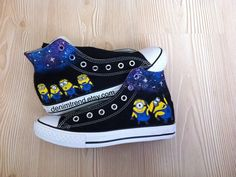 Minion Shoes Converse -Cutest shoes in the world , Despicable Me Minions ! Our Minion Shoes are sure to attrack some attention-Hand Painted by Blinglogo Minion Shoes, My Minion, Minion Things, Custom Converse Shoes, Custom Shoes, Nike High Heels, Shoe Makeover, Hand Painted Shoes, Michael Kors Wallet