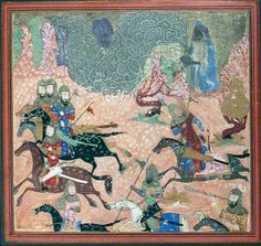 """""""Bazur, the Magician, Raises up Darkness and a Storm"""", Folio from a Shahnama (Book of Kings) Author: Abu'l Qasim Firdausi (935–1020),  from an illustrated manuscript ca. 1430–40. During a battle between Persians and the Turanians, a sorcerer named Bazur (blue cape), creates a blizzard that engulfs the Persians. In the ensuing confusion, the Turanians attack, causing heavy casualties. This painting comes from a copy of the highly Persianate Shahnama that was probably made in northern India."""