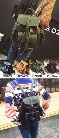 Which color do you like? Leisure Brown Three Pockets PU Smooth Large School Backpacks #leisure #PU #smooth #brown #backpack #bag
