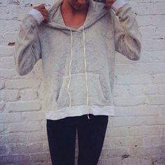 loose gray pullover hoodie, black leggings. simple, comfy, casual, basic, travel, lazy day, kickback, lounge, college, weekend, hangout, sleep, spring or fall combo.