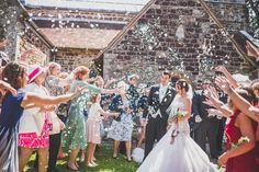 Church wedding confetti shot photography