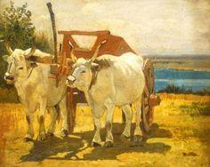 Bovi bianchi al carro - Giovanni Fattori