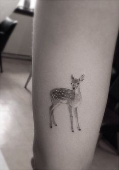 cute animal tattoo by Dr Woo - Design of Tattoos Fawn Tattoo, Doe Tattoo, Bambi Tattoo, Stag Tattoo, Tattoo Ink, Fine Line Tattoos, Body Art Tattoos, Small Tattoos, Tree Tattoos