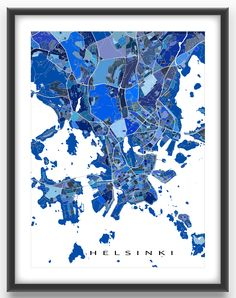 Helsinki map print featuring the beautiful city of Helsinki, Finland.  This Helsinki art print has a modern design made from many little blue shapes. Each shape is actually a city block or a piece of land that combines with city streets - like a puzzle or mosaic - to form this Helsinki print. #Helsinki #HelsinkiFinland #HelsinkiMap