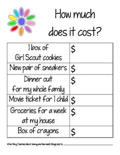 Use this worksheet at a meeting or as a take-home activity to complete with the family. Simple but powerful. Girls will ask an adult the approximate cost of 6 typical items in a family budget, including the cost of a box of Girl Scout cookies.Print and use at your Daisy Girl Scout meeting today!