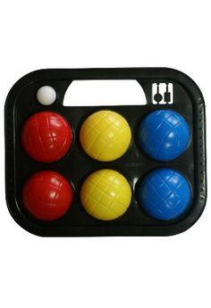 Set de petanca de 6 bolas plástico, un boliche y estuche.