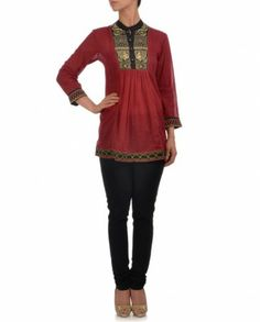 Red Cotton Tunic with Neon Accents by Ritu Kumar