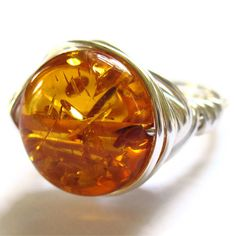 Faux Amber Silver Wire Wrapped Ring £9.75