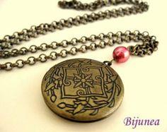 Berry round locket necklace by Bijunea on Etsy