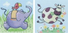 This cross stitch kit set binds together both the bounding elephant and gallivanting cow from two of Heritage Crafts child friendly patterns. As a pa...