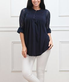 Another great find on #zulily! Navy Lace-Sleeve Notch Neck Tunic - Plus #zulilyfinds