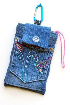 Phone bag, cell phone bag, denim phone bag, phone case, smart phone bag, mini purse by mimisfunstuff on Etsy