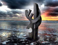 """""""Sea Wall"""" by Denis J Folz www.steel-oil-wood.com Painted Steel"""