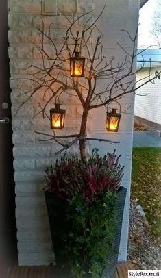 autumn, floral arrangements, patio flowers, lantern, k - Recycled Garden Ideas Garden Art, Garden Design, Outdoor Christmas Planters, Fall Flower Arrangements, Candle Lanterns, Candles, Fall Flowers, Floral Flowers, Porch Decorating
