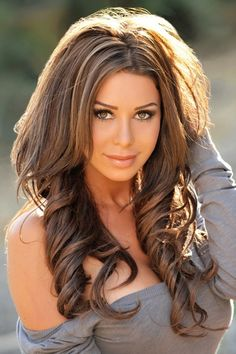gorgeous long brunette hair with highlights