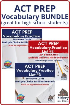 This bundle has 60 ACT vocabulary words to practice and review through multiple choice and fill-in-the-blank. To do well on the ACT, you need a great grasp of vocabulary - the context as well as the definition. The ACT helps by providing context cues throughout the test, but it's up to you to know how the word is used. So what you need to focus on are the multiple meanings of vocabulary words.  #ACT #ACTprep #ACTvocab#Standardizedtests #Vocabulary #Highschool #homeschool #Boomdecks… Vocabulary Practice, Vocabulary Words, Homeschool Curriculum, Homeschooling, Standardized Test, Act Prep, Organization Skills, School Grades, School Closures