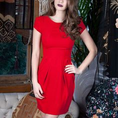 Playful Promises: Classic Tailored Dress Red- wish it was longer
