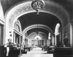 The waiting room in Detroit's Michigan Central Train Station, way back when.  Tragically, forgotten