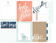 Free Project Life / Pocket page filler cards and journaling cards free JUNE memory planner printable « Heidi Swapp