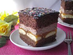 Tradycyjna kuchnia Kasi: Murzynek z musem brzoskwiniowym Creme, Desserts, Food, Sheet Cakes, Recipies, Tailgate Desserts, Deserts, Essen, Postres