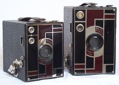 """This is the famous """"Brownie"""" camera from Kodak. The Brownie popularized low-cost photography and introduced the concept of the snapshot (first model dates from 1900)  A later model (art deco style from the Thirties):"""