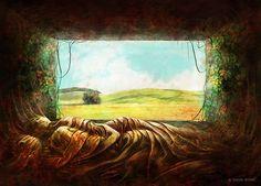 """Bedroom"" My Gallery ► TomekBiniek.com   #procreate #sullen #darkart #horror #art #artist #artgallery #graphic #creepy #gore #followme #patreon #modernart #digitalartwork #digital #paintings #illustration #conceptart #poster #signed #print #Tomasz #Tomek #Biniek #Szczecin #Poland #artwork #etsy #instaart #creepmachine"