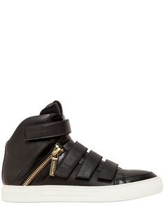 PIERRE BALMAIN - VELCRO NAPPA LEATHER HIGH TOP SNEAKERS - LUISAVIAROMA - LUXURY SHOPPING WORLDWIDE SHIPPING - FLORENCE