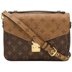 Louis Vuitton Reverse Monogram Pochette Metis ❤ liked on Polyvore featuring bags, handbags, reversible handbag, monogram canvas bag, brown handbags, canvas handbags and locking purse