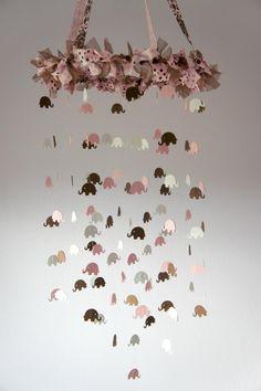 Pink Elephant Nursery Mobile, Baby Shower Gift, Photographer Prop