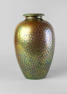 Very large ceramic vase with textured eosin glaze by Zsolnay. Decorated with a snake skin-like texture that has a brilliant luster, circa The Zsolnay factory was established by Miklos Zsolnay in Pecs, Hungary in Ceramic Vase, Luster, Hungary, Ceramics, Texture, Ebay, Home Decor, Pottery Vase, Ceramica