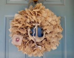 Burlap Wreath with Nautical Prim Anchor 19 inch (other colors and sizes available) - Ocean Coastal Nautical