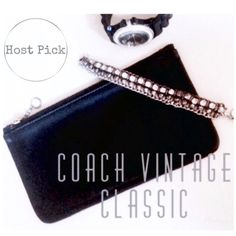✨HOST PICK✨•C O A C H•  Vintage Card Holder ✨HOST PICK!✨•C O A C H•  Black Leather Vintage sleek zipper bag. Excellent condition. Used once. Perfect for your little purse items such as credit cards/cash lipstick/phone etc. Inside is creme & blue striped pattern. Classic & Chic. Will go with Everything..& will never go out of style. 4 3/8 Width -7 1/2 Length. {Hardware is gold.} Perfect for bills. •FINAL PRICE• Coach Bags Mini Bags
